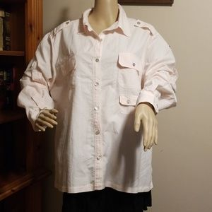Chico's Size 3 (18) Pale Pink Long Sleeve Blouse